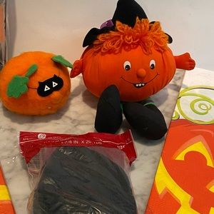 Halloween Decor pumpkin table cloth streamers